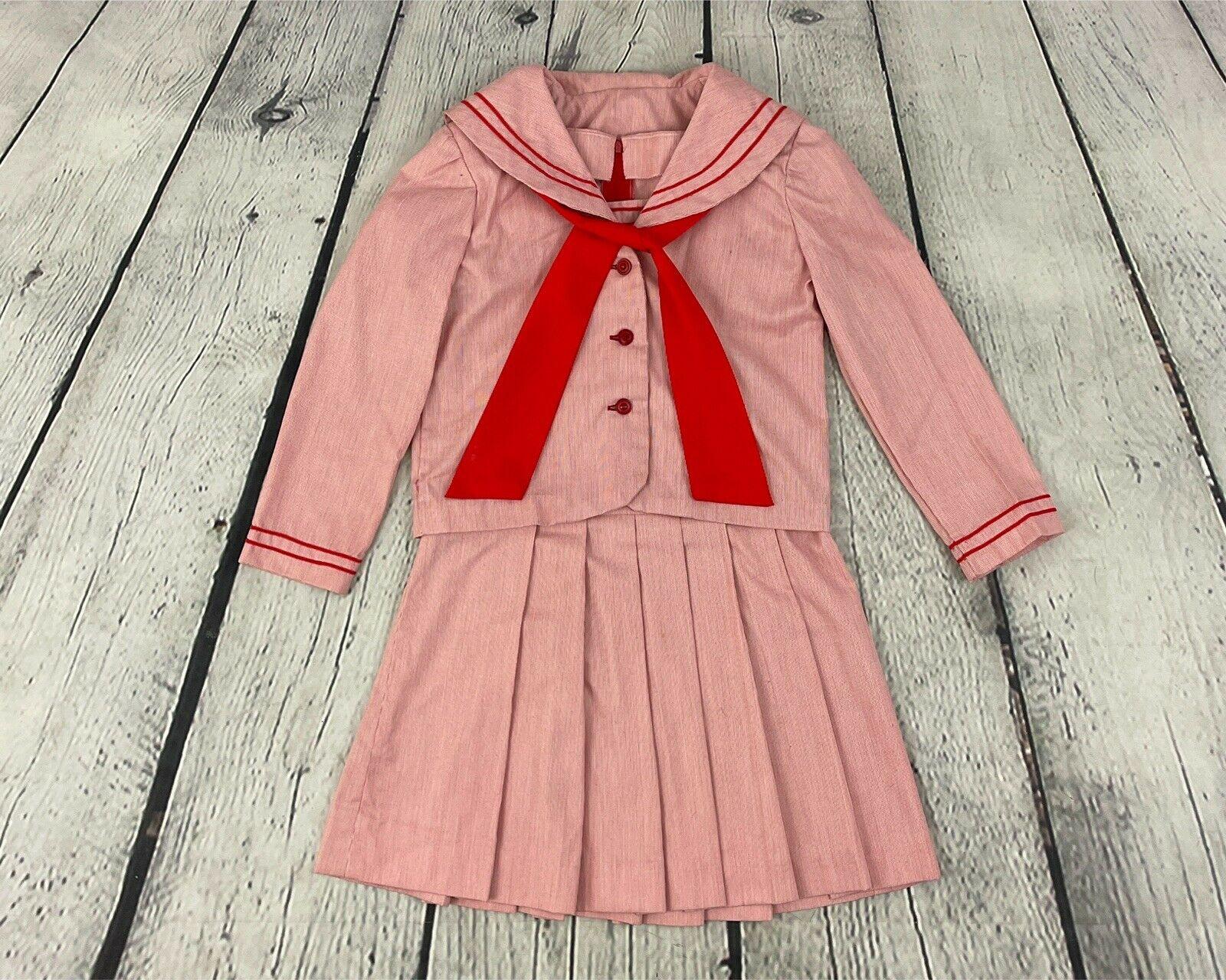 Vintage Scarf Styles -1920s to 1960s 1960S Vintage Girls Red Pinstriped Dress  Jacket with Scarf Suit Set Madeline School Uniform Sz 9 - 10 $0.00 AT vintagedancer.com