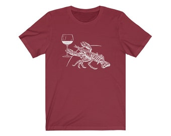 8946f8523cb Lobster Wine Drinking Shirt Vacation Gift Sea Life Animal TShirt Beach  Getaway Unisex Jersey Short Sleeve Tee