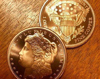 """5 Rounds /""""Freedom Girl/"""" Copper Round 1 oz.999 Very Limited and Rare Single Sided"""