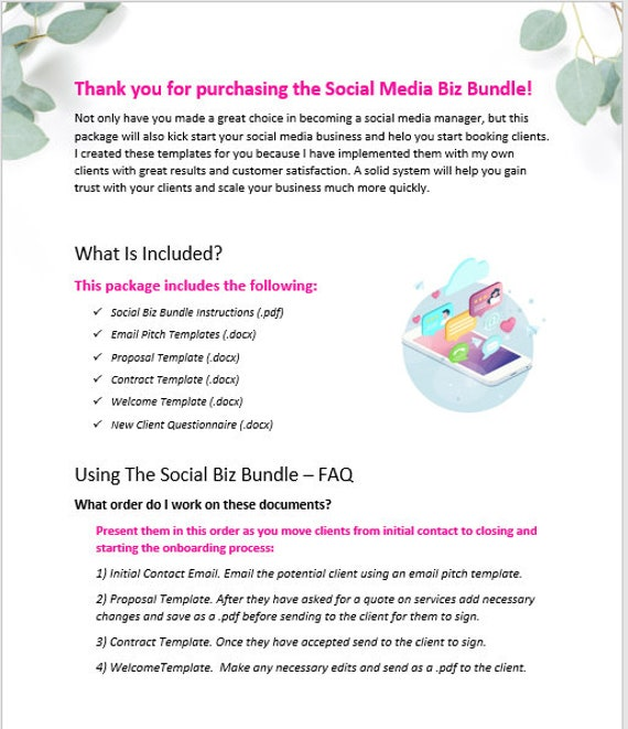 Social Media Manager Template Package Social Biz Bundle Marketing Proposal