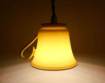 tea cup lamp, upcycled pendant light, rustic hanging lamp,  vintage teacup hanging lamp, tea cup lamp, vintage teacup LED hanging lamp