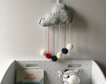 Hanging cloud mobile with tassels, liberty rain blue, green and pink