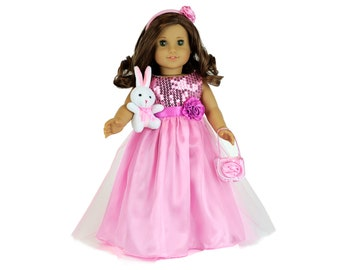 MangoPeaches- 14 Inch Doll Clothes Purple Handbag 2 Piece Purple Long Dress,Includes Purple Dress Princess Outfit Compatible with Willie Whisher Doll