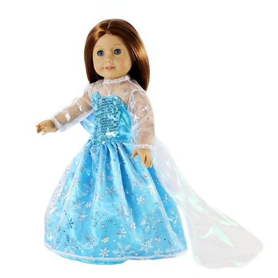 "Doll Clothes 18/"" Dress Blue Queen Elsa Crown Fits American Girl Dolls"