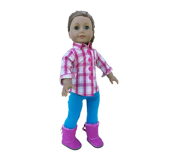 Pink Button Slippers 18 in Doll Clothes Fits American Girl