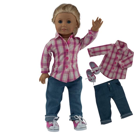 "Super detailed MangoPeaches Light Blue Jeans Fits 18/"" American Girl Dolls"