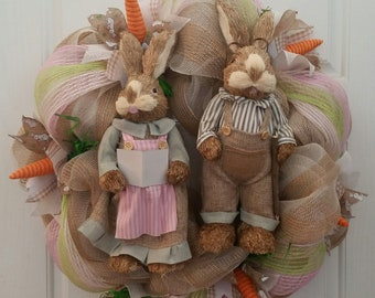 Granny and Grandpa Easter Rabbits Wreath, Easter Bunny Wreath