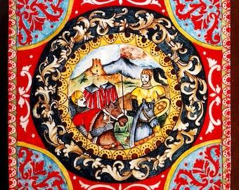 Carretto siciliano su piastrella in ceramica con decori tipici etsy