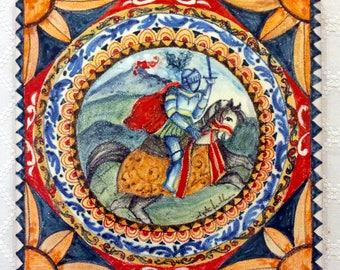 Asso di mazze siciliano decorato su piastrella ceramica etsy