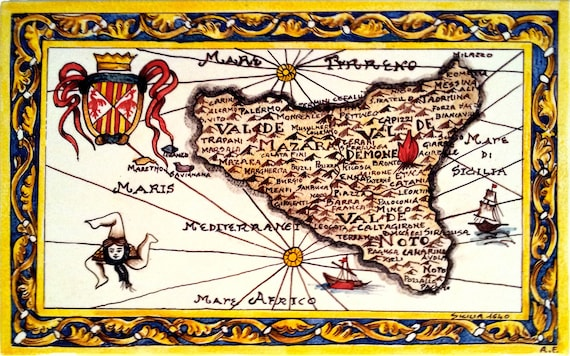 Cartina Sicilia Antica.Sicilia Antica Mappa Del 1640 Sicilia Regnvm Etsy