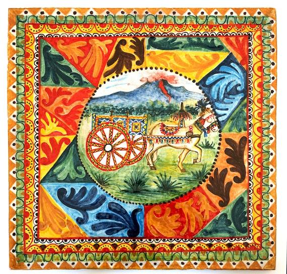 Decorazioni Carretto Siciliano.Carretto Siciliano Su Piastrella In Ceramica Con Decori Tipici Sicilian Cart On Ceramic Tile With Typical Decorations