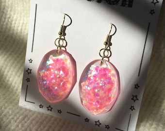 Glitter gem drop earrings