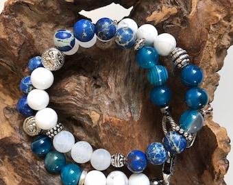 Blue Jasmine - Bracelet natural stones and metal beads