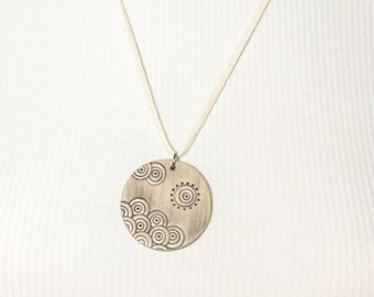 """Handmade polymer clay necklace """"Waves and sun"""""""
