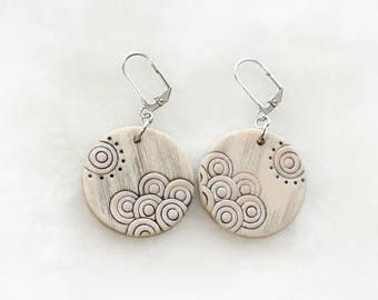 "Handmade polymer clay earrings ""Waves and sun"""