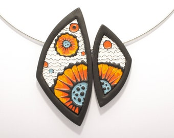"""Handmade polymer clay necklace """"Flowers"""""""
