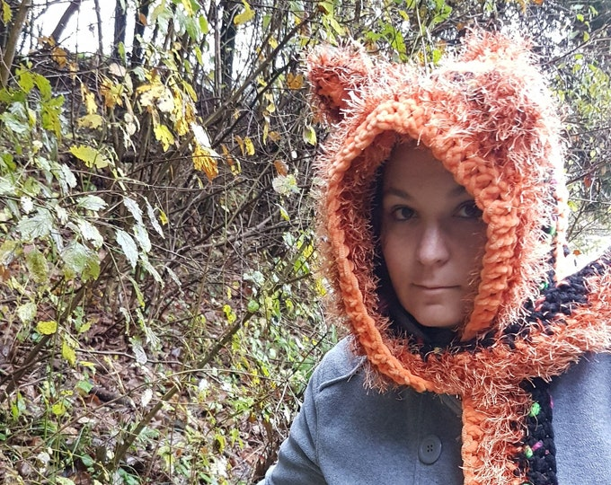 hoodie / scoodie / crocheted hat / hood with ears / cute headwear / hooded scarf