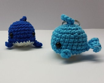 whale keyring / crocheted sea creature / colorful cute keychain /