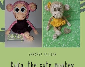 PATTERN monkey, amigurumi monkey, crocheted instructions monkey