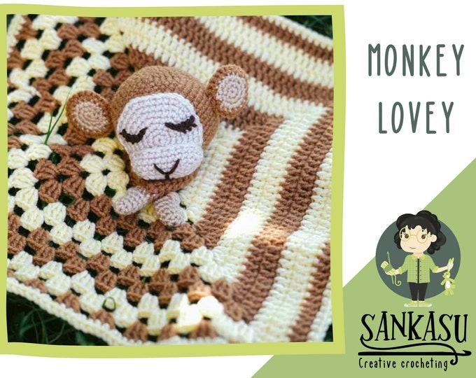 monkey lovey, crochete baby blanket, security blanket