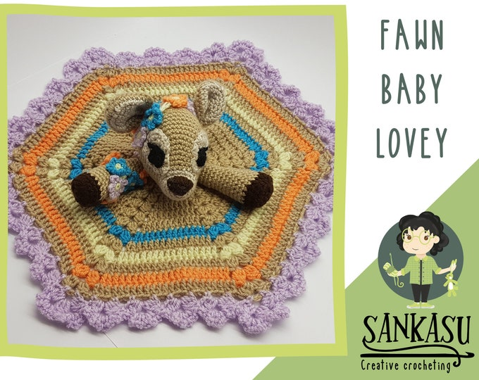 crocheted fawn security blanket, gift for baby girl