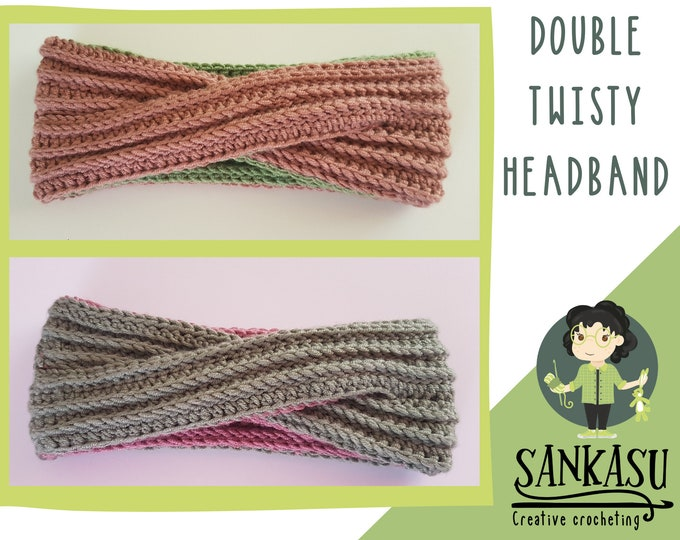 double sided ear warmer / double twisty headband / crocheted head accessory