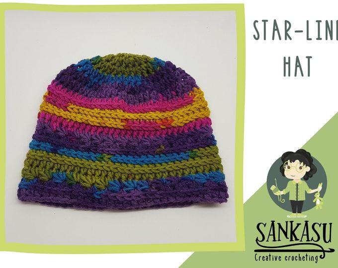 STAR-LINE HAT / crocheted beanie