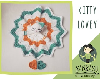 Baby lovey, crocheted security blanket, kitty lovey