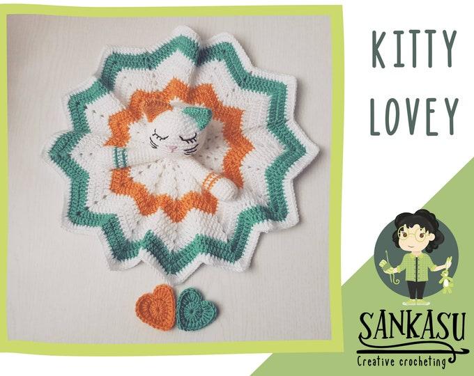 Baby lovey, crocheted security blanket, kitty lovey