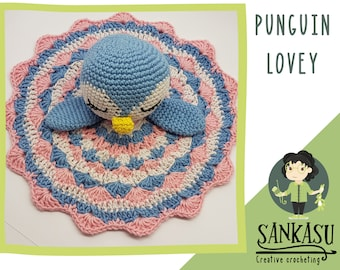 penguin lovey / crocheted security blanket / snuggle toy / baby present / toddler / newborn / baby shower