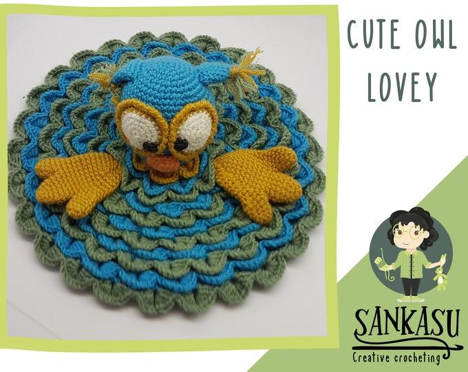 Owl lovey,   Crocheted security blanket,   Gift for newborn