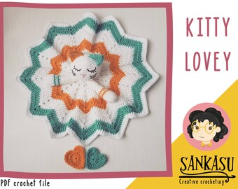 PATTERN kitty security blanket / cat lovey / crocheted baby blanket / animal