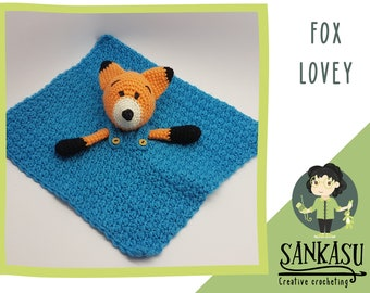 cute snuggle blanket, Fox lovey, gift for baby