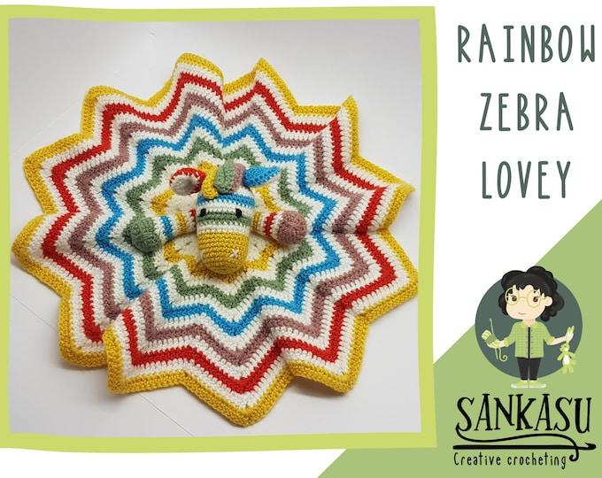 baby zebra lovey / crocheted snuggle blanket / knitted baby gift / healthy newborn present