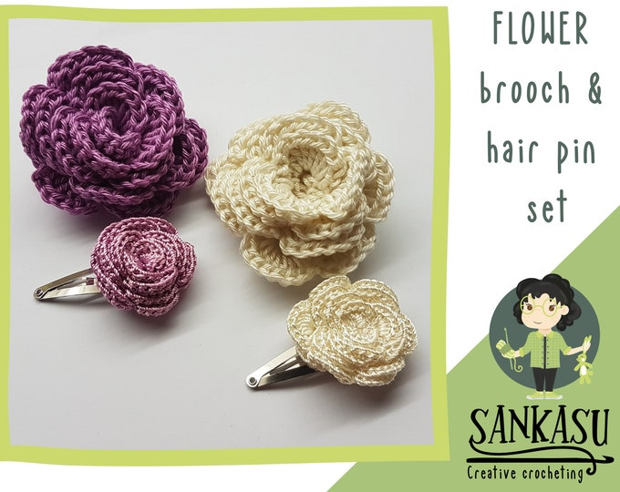 flower wedding accessory / brooch and hair pin set