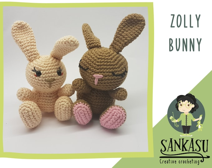 Zolly bunny / crocheted rabbit / easter ornament / pink / white / gift for mom