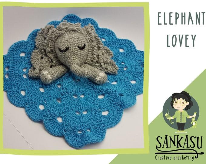 Elephant security blanket, crocheted lovey