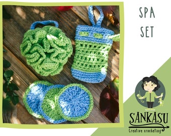 spa set / shower set with sponge / cotton loofah / christmas present / gift for mom