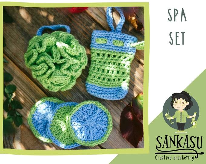 spa set / shower set with sponge / cotton loofah / christmas present / gift for mom