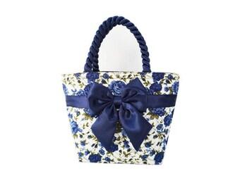 Blue Floral Bow Bag