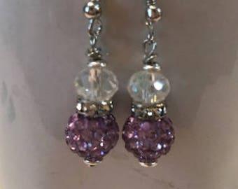 Lavender 'Disco Ball' Earrings - Item #E115
