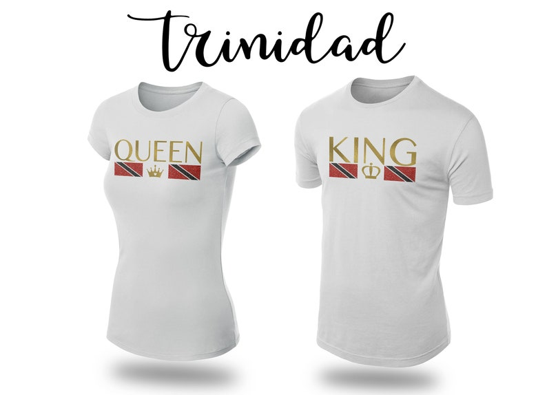 Trinidad King Queen/Matching Couples/Trini Glitz and Gold/Flag T shirt print