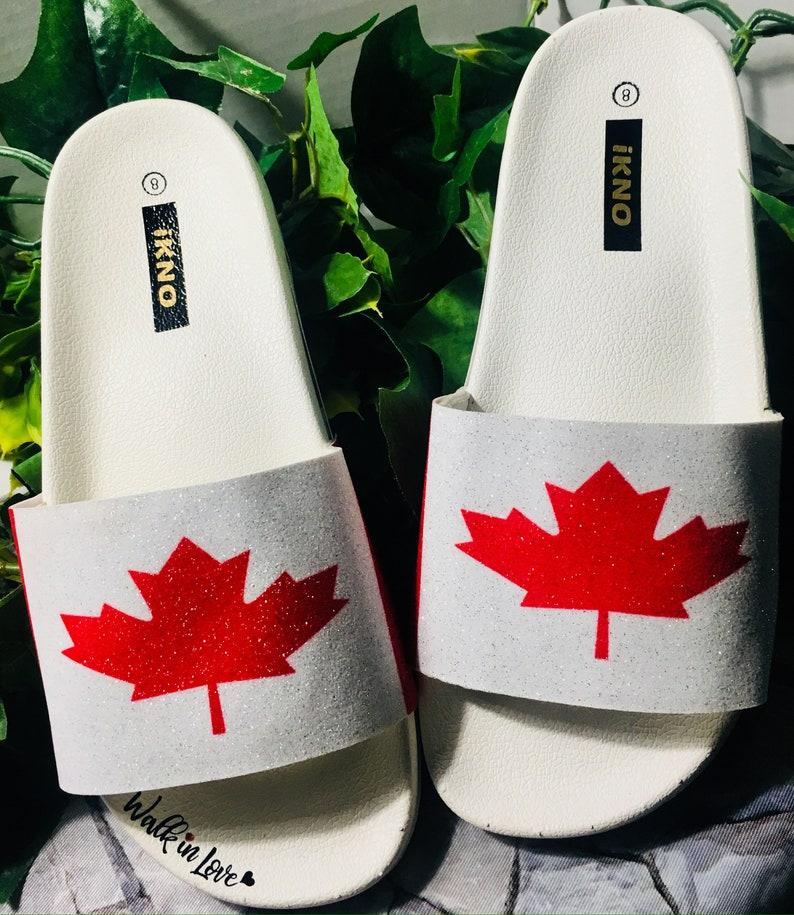 be5cdfaee4e25 Oh Canada/Canadian Flag/Glitter Slides/White Bling Sandals