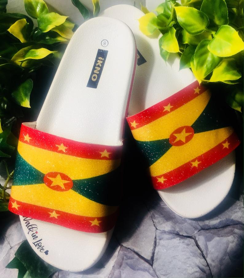 b1749c6cf5a87 Grenada Flag/Blinged Out/Glitter Slides