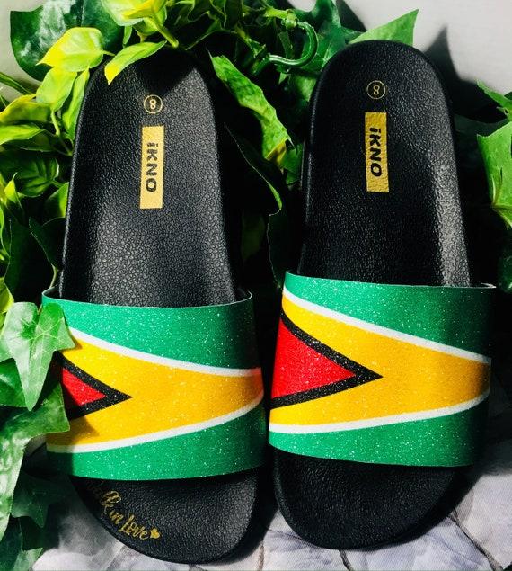 bbd0958087691 Guyana Flag/Glitter Slides/Handmade Bling Slipper Sliders