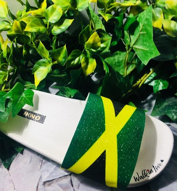 b9525a941220e Walk in Love/Jamaica Flag Slides/Handmade/Glitter Bling/Custom Slide Sandals