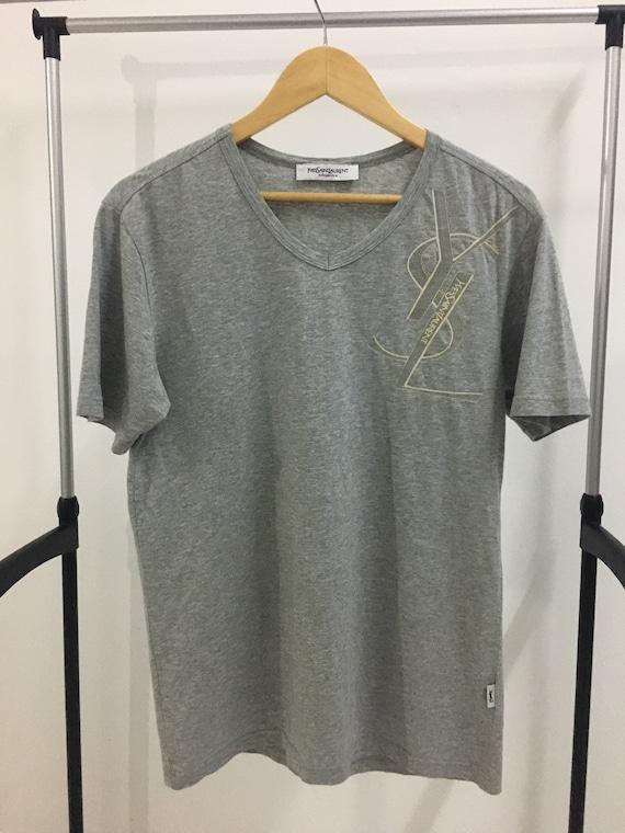 Vintage YSL V neck tshirt/ Ysl Big Logo