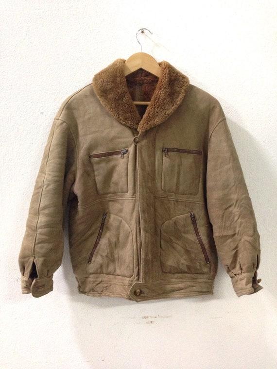 Vintage Sherpa Jacket / Sherpa Coat / Leather Jack