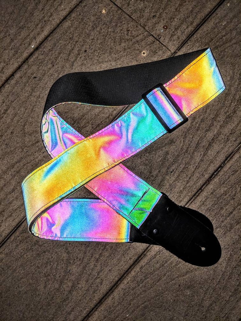 Reflective Holographic Rainbow Gray Guitar Strap image 0
