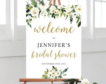 Wedding Welcome Poster Template Printable Greenery Gold Bridal Shower White Flower Calligraphy Modern Editable Download PDF WHITE1